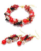 Изысканный набор браслет и серьги из коралла