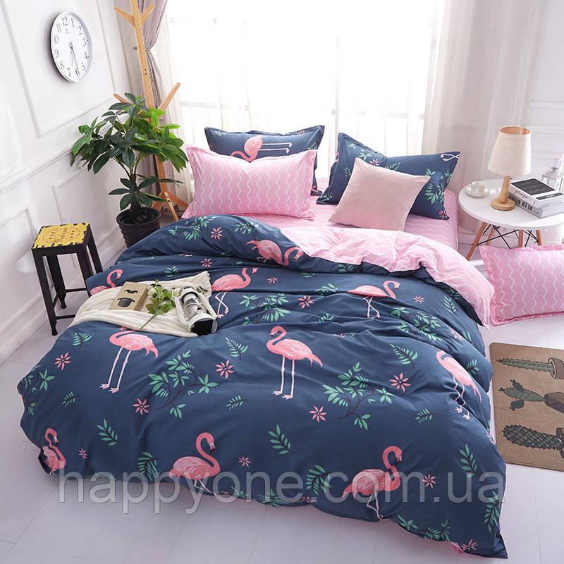 Комплект постельного белья Фламинго и цветы (полуторный)