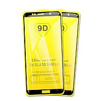 Защитное стекло 9D на весь экран (на пластине) для Huawei Y6 (2018) цвет Черный