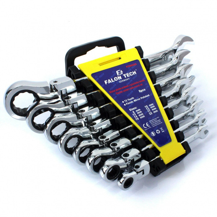 Набор ключей с трещеткой и карданом 8-22 Falon tech 8шт.