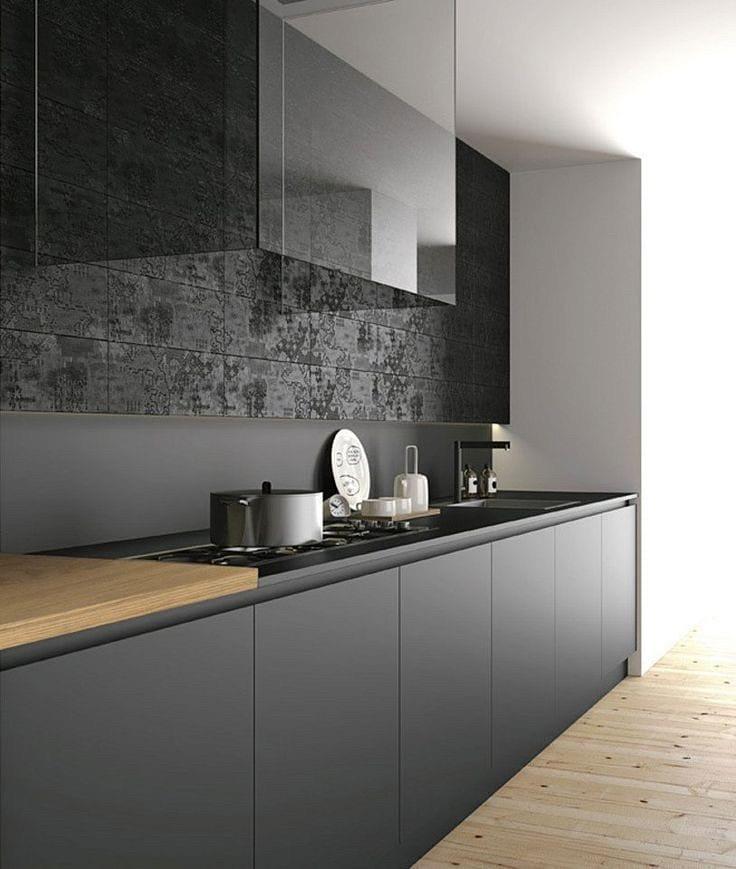 Кухня на заказ фасады панели мдф ALVIC черный Испания
