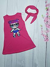 Летнее детское платье для девочки с мигающими глазками Лол 3-9 лет красный