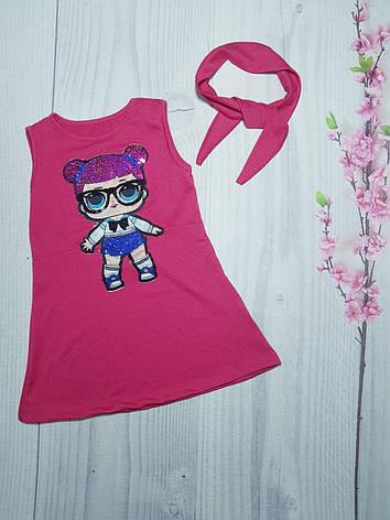 Летнее детское платье для девочки с мигающими глазками Лол 3-9 лет, фото 2