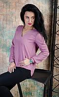 Женская блузка с удлиненной спинкой лиловая