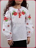 """Рубашка-вышиванка для девочки """"Яркие маки"""", фото 1"""