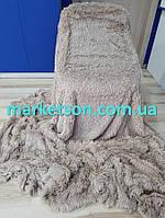 Покрывало плед травка 220х240 бамбуковое меховое пушистое с длинным ворсом Koloco Крепкий Мокко