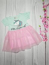 Платье летнее с пышной юбкой для девочки 1-7 лет голубой+розовый