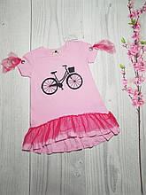Детское летнее платье с воланом для девочки 3-9 лет розовый
