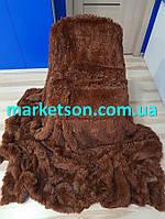 Покрывало плед травка 220х240 бамбуковое меховое пушистое с длинным ворсом Koloco Шоколадное