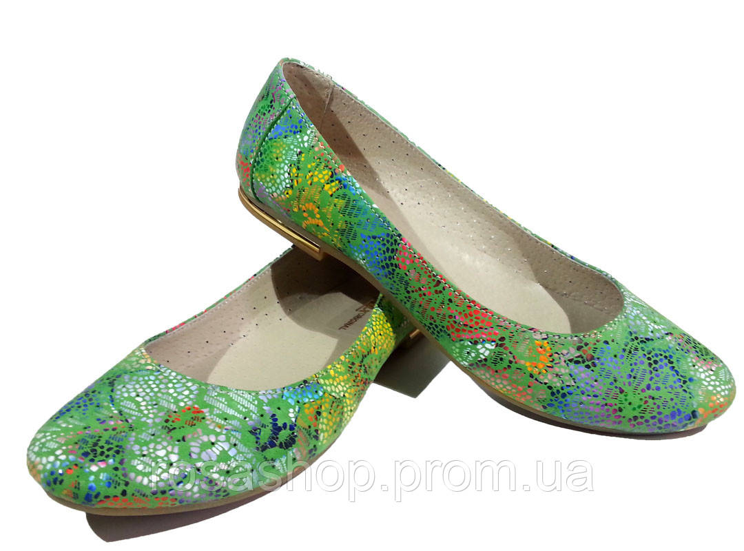 a7244766b Балетки женские натуральная кожа летние зеленые (Бал) - Интернет-магазин