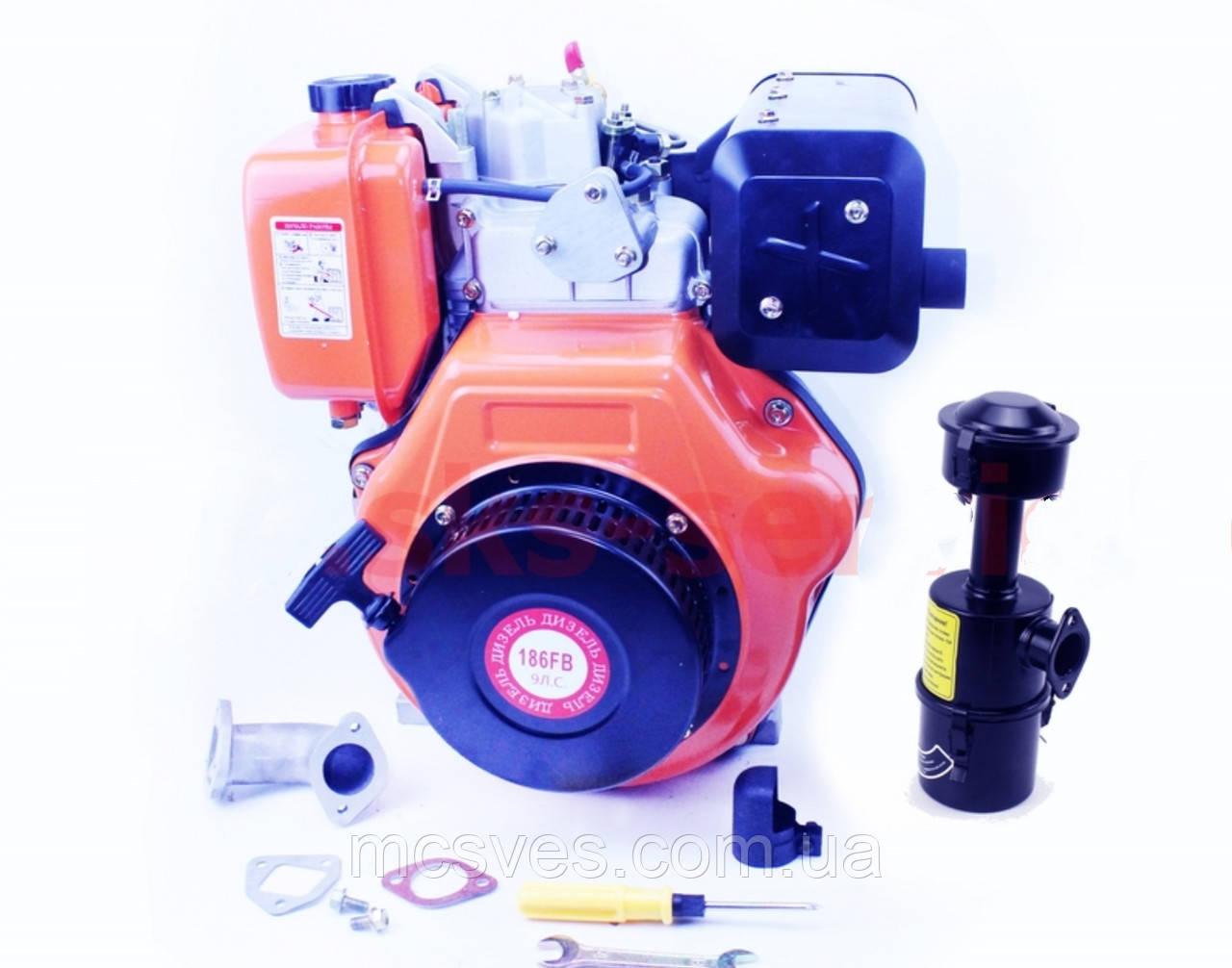 Двигатель мотоблочный ДИЗЕЛЬНЫЙ в сборе под шлиц 25мм 9л.с. 186FЕ (HT-135)
