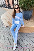 Женский повседневный костюм из трикотажа плотного с лампасами 2101049, фото 1
