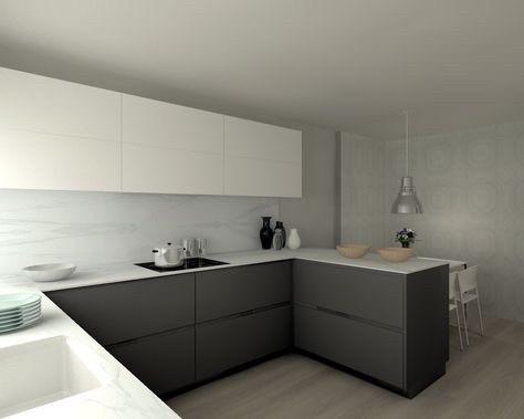 Кухня на заказ графитовые фасады низ верх белые. столешница акрил