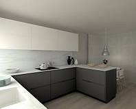 Кухня на заказ графитовые фасады низ верх белые. столешница акрил  , фото 1