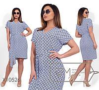 Принтованное летнее платье большого размера с коротким рукавом 1151540