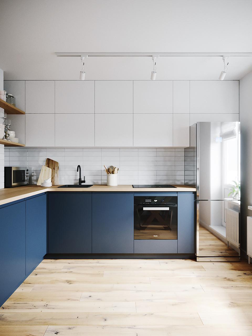 Кухня на заказ синие фасады краска мат низ, верх белые.