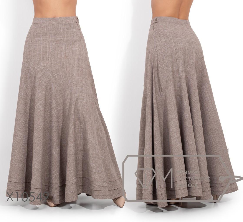 29cf0bbb3b7 Купить Льняную длинную юбку в больших размерах клеш 1151547 недорого ...