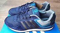 Мужские кроссовки в стиле Adidas NEO синие/черные полоски замш 44 (28 см)