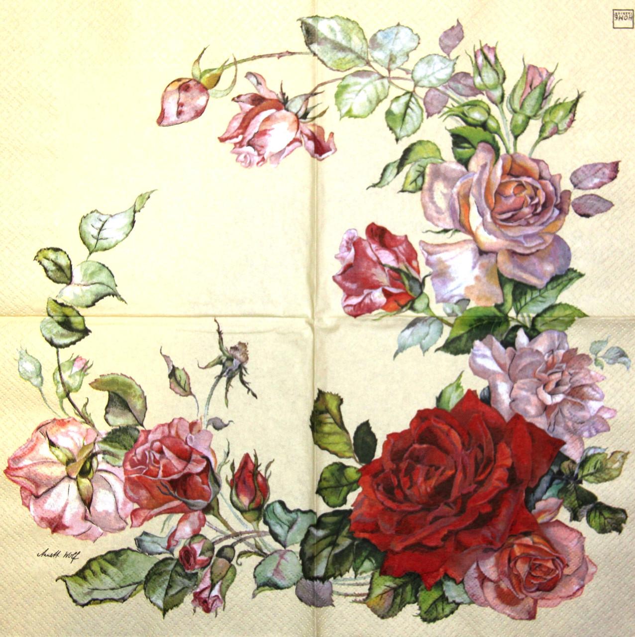 Декупажний серветка Троянди 1022