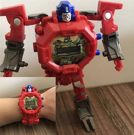 Детские Часы-трансформер Оптимус Прайм. Робот-трансформер и наручные часы 2 в 1, фото 2