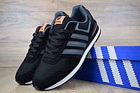 Мужские кроссовки в стиле Adidas NEO черные с оранжевым замша+сетка 41 (25,5 см)