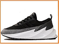 Женские кроссовки Adidas Sharks Grey Black White (адидас шарк / акула, серые / черные / белые)