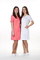 Розовый женский медицинский халат Дана (коттон)