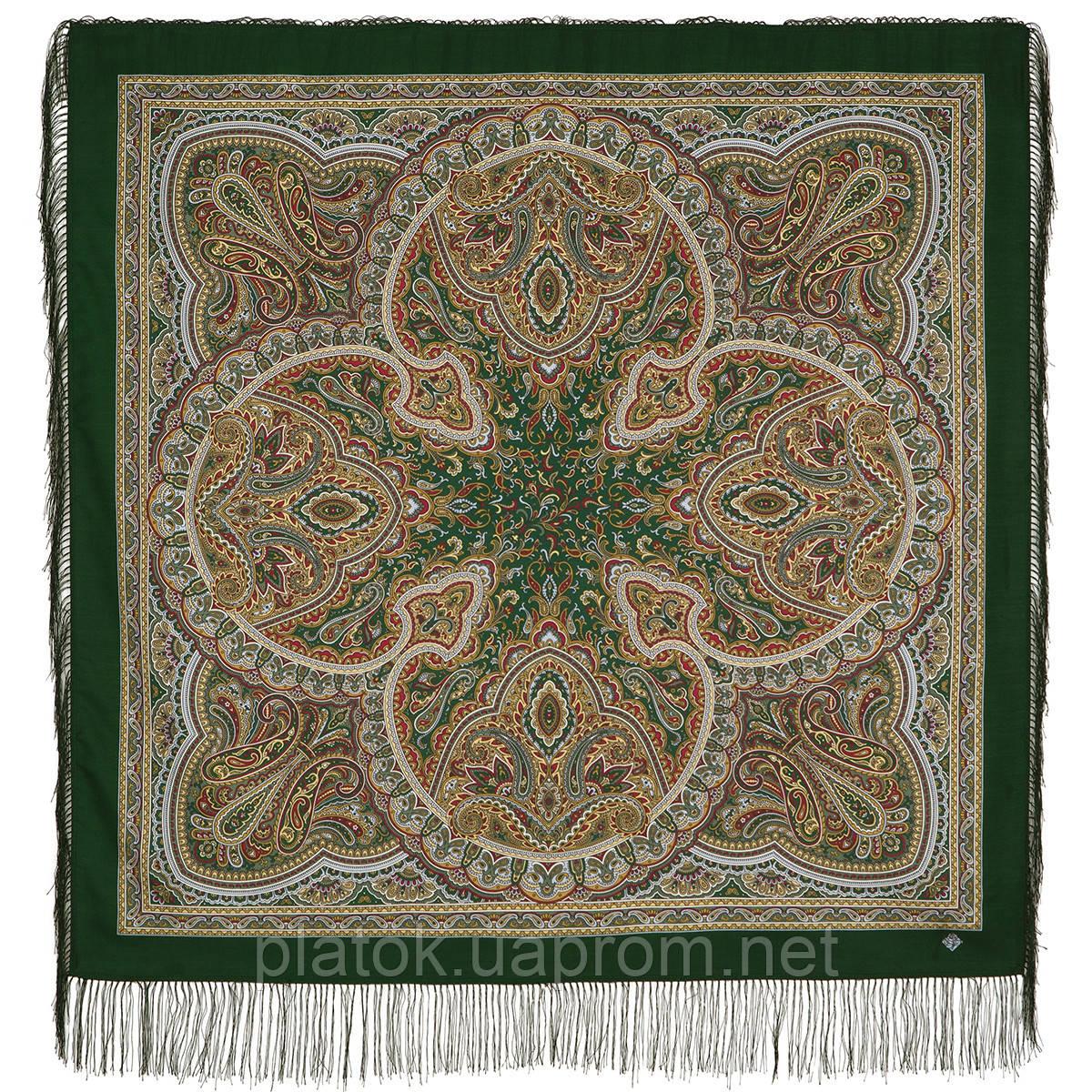 Узор дождя 1695-10, павлопосадский платок шерстяной (двуниточная шерсть) с шелковой бахромой