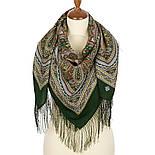Узор дождя 1695-10, павлопосадский платок шерстяной (двуниточная шерсть) с шелковой бахромой, фото 8