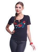 Стильная молодежная футболка вышиванка черного цвета