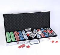 Набор для покера в алюминиевом кейсе IG-2115 на 500 фишек с номиналом (2 кол.карт,5куб), фото 1