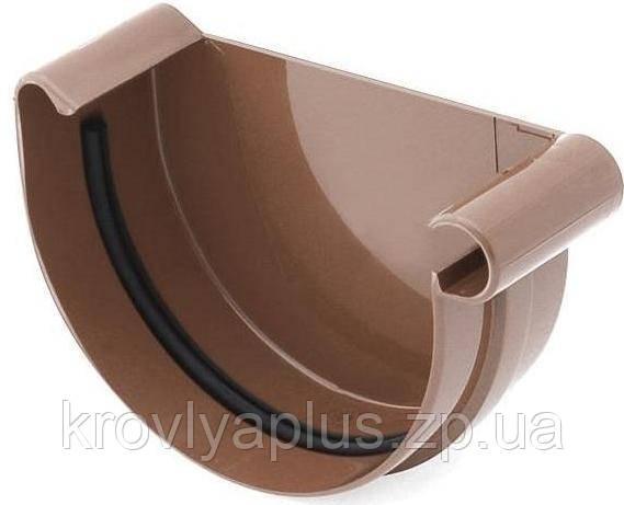 Водосточная система BRYZA 150 Заглушка желоба правая коричневый, фото 2