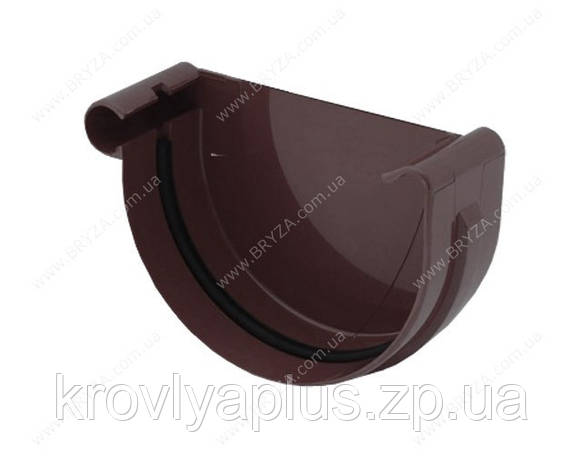 Водосточная система BRYZA 150 Заглушка желоба левая коричневый, фото 2