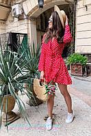 Летнее платье в горошек на запах с оборкой 2PL2533, фото 1