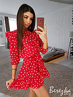 Короткое летнее платье в принт под пояс 66PL2538, фото 1
