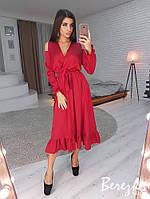 Шелковое платье с верхом на запах и разрезами на плечах 66PL2543, фото 1