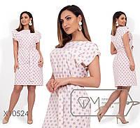 Летнее платье в горошек в больших размерах под пояс 1BA1539, фото 1