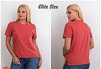 Прямая женская футболка в больших размерах на лето 6BA1577, фото 1
