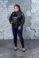 Женская кожаная куртка со стежкой в больших размерах 10BA1586, фото 1