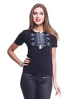 Трикотажная футболка вышиванка с рнаментом