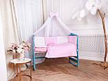 Защита в кроватку и постельный  комплект c подушкой и одеялом Эко, розово-белые звездочки, фото 2