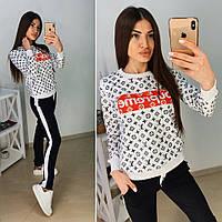 Костюм женский модный кофта в стиле YSL с надписью Supreme и штаны с карманами Dtk1408, фото 1