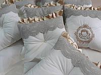 Комплект  постельного белья из сатина с бортиками и балдахином   в детскую  кроватку, фото 1
