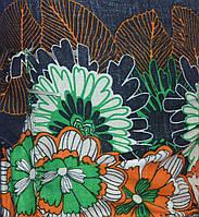 Ткань Штапель - принтованная - джинсовые цветы