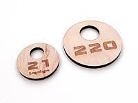 Круглый номерок для гардероба из фанеры 40х40мм, двухсторонний (Кольцо: Без кольца для ключей;  Толщина