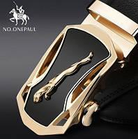 Ремень мужской классический NO.ONEPAUL кожаный с пряжкой автомат (золото)