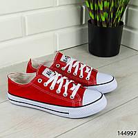 """Кеды женские, красные в стиле """"Converse"""" текстильные, кроссовки женские, мокасины женские, повседневная обувь"""