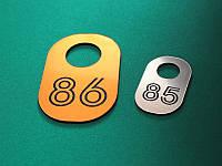 Гардеробный номерок из двухслойного пластика 30х50 мм, двухсторонний (Кольцо: Без кольца для ключей;  Цвет:, фото 1