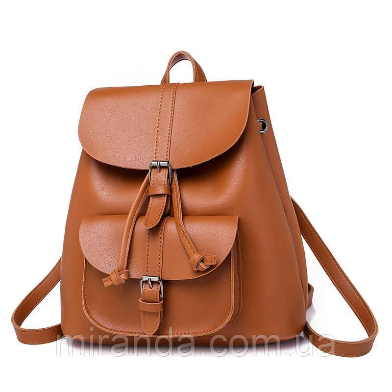 d2207ccbfda5 Рюкзак женский для девушек из экокожи с накладным карманом (коричневый)
