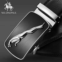 Ремень мужской классический NO.ONEPAUL кожаный с пряжкой автомат (серебро)